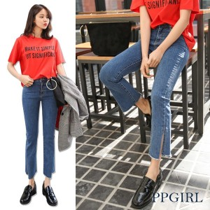 送料 0円★PPGIRL_9543 Bias slit jeans / denim pants / slim straight fit pants / ankle length