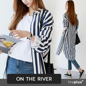 ★ontheriver★Maxi Long Stripe Shirts / Blouse / Side Slit / High Quality / Korean Fashion / Plus size