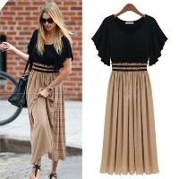Trendy Bohemian Womens Sexy Vintage Long Chiffon Maxi Dress Plus Size