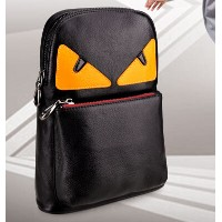 QING YU leather mens leather shoulder bag casual fashion bag chest bag man bag Messenger bag monster