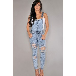 New Arrival Long Rompers Womens Jumpsuit Stone Wash Denim Destroyed Fitted Overall For Women...