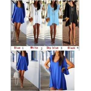 2015 Women Summer Casual Dress Sexy V-neck Loose Unequal Short Chiffon Dress 4 Color Plus Size...