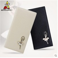 Long leather fashion Korean sweet head layer cowhide hand multi Card Wallet