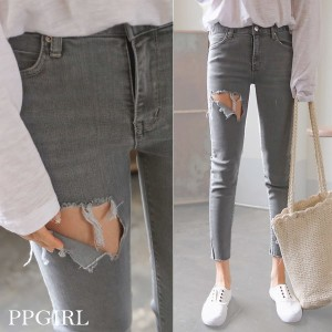 送料 0円★PPGIRL_9394 Gray jeans/skinny pants/denim pants/ankle length pants/ユニーク/スキニー/パンツ/ポイント