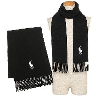 ポロラルフローレン マフラー POLO RALPH LAUREN 6F0514 001 ウール BIG PONY EMBROIDERED SCAEF W30×H182cm POLO BLACK...