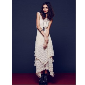 Boho People hippie Style Asymmetrical embroidery Sheer lace dresses double layered ruffled trimming