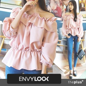 ★ envylook ★ 3 Colors / Off Shoulder Blouse / Frill Detail / Feminine / Puff Sleeve / Office Wear