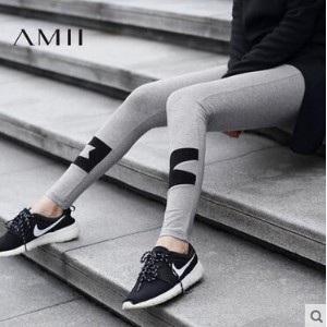 Amii [Minimalist] 2016 Autumn new womens tide splicing cotton nine points was thin leggings womens...