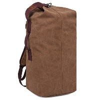 GINGOOD Canvas Bucket Bag Outdoor Hiking Climbing Travel Daypacks Backpack #805 Coffee