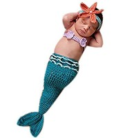 (Hobees) Fashion Newborn Boy Girl Baby Outfits Knitted Photography Props Blue Mermaid