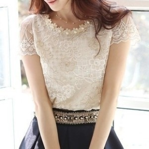 2015 Summer Hot Sale Women s Chiffon Shirts Lace Top Beading Embroidery O-Neck Blouses J8259