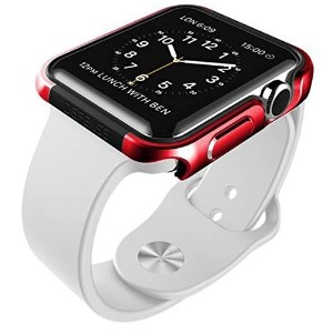 X-Doria 42mm Apple Watch Case (Defense Edge) Premium Aluminum and TPU Bumper Frame (Metallic Red)