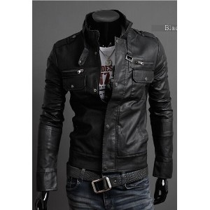 2016 new fashion European and American men s Multiple zipper leather Stand collar leather jackets
