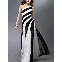 Two-Tone Maxi Dress One-Shoulder Asymmetric Backless Stripes Evening Dress