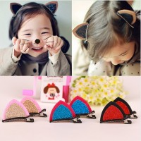 New 1Lot2Pcs Stereo Double Cat Ear Clip With Sequins Ears Baby Hair Clip Cute Of Fan Lovely Shape