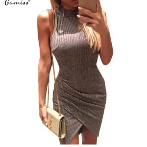 Gamiss Elegant Gray Sleeveless Knitted Casual Dress Women Evening Party Bodycon Dress GirlsLadies