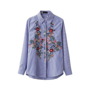 Floral Embroidery Blouse Cotton Women Striped Shirt Long Sleeve Turn-down Blue Long Shirts Camisa...
