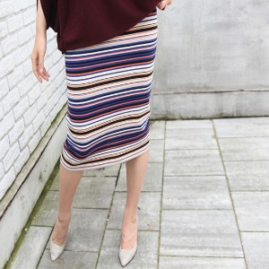 [zoozoom] Stripe H-line knit skirt 1color / 24261