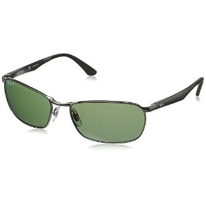 Ray-Ban Mens 0RB3534 Rectangular Sunglasses Gunmetal 59 mm