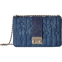 GUESS Womens Kalen Convertible Crossbody Flap Denim Cross Body