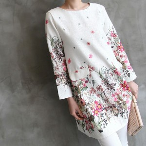 [zoozoom] Jacquard flower printing blouse 1color / 22644