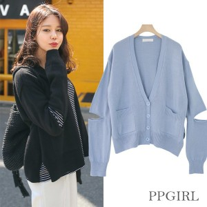 送料 0円★PPGIRL_9531 Sleeve open cardigan / knit cardigan / V neck cardigan / simple / over fit