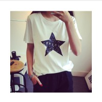 Womens Summer T-Shirt Clothes Shirt O-neck Star Printed White And Black Free Shipping