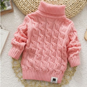 Boys Girls Turtleneck with Beard Label Solid Baby Kids Sweaters Soft Warm Sueter Infantil Autumn