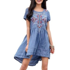 Women Vintage Geometric Embroidery Tencel Dress European Style Summer Casual Asymmetrical Denim...