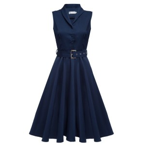 Colors 2017 New Women Vintage Dresses Summer Elegant Solid Color Dress Sleeveless Party Dresses...