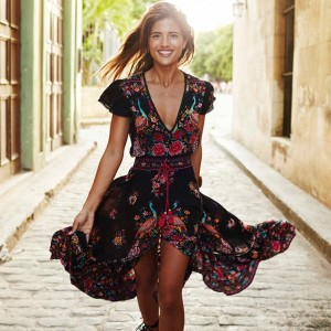 Boho Summer Dress Women Vintage Ethnic Floral Print Neck Female Party Long Maxi Dress Casual...
