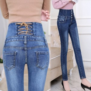 Autumn Spring Jeans Womens High Waist Elastic Skinny Denim Long Pencil Pants Back Cross Woman Jeans...
