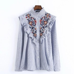 2017 Ruffles Floral Embroidery Women Blouses Long Sleeve Stand Collar Elegant Blue Striped Ladies...
