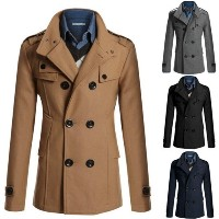 Stylish Men s Trench Coat Winter Long Jacket Double Breasted Overcoat Outwear