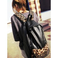 Black Hot Multi Purpose Backpacks Leopard Print Travelling Bags Students (Size: 11.80&quot  by 16...