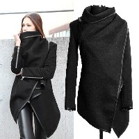 Women Female Long Jacket Warm Woolen Coat Blazer Zip Parka Windbreaker Black 7_S