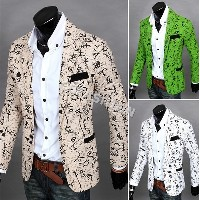 New Korean Style Men's Fashion Turn-down Collar Slim Fit Long Sleeve Casual One Button Suit Blazer...