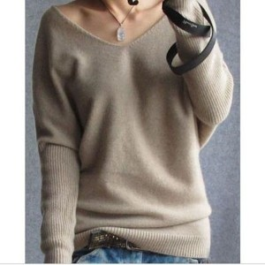 2016 spring autumn cashmere sweaters women fashion sexy v-neck sweater loose 100% wool sweater...