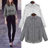 Boyfriend Style Oversized Women Turndown Collar Star Print Casual Shirt Tee Tops