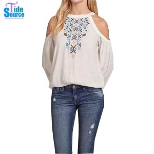 2016 Spring Autumn Blusas Sexy Off The Shoulder Pullover Halter Shirt Women Elegant White Embroidery...