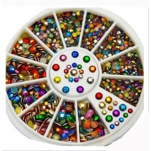 Colorful Octagonal Tablet Acrylic Rhinestones Nail Studs Tips Glitter Wheel 3D Nail Art Supplies...