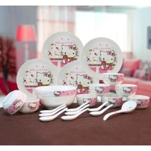 Korean dishes suit kt cat Hello Kitty cartoon bone china ceramic tableware 22 head much more...