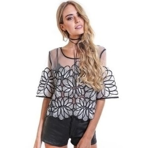 Stylish Scoop Collar Half Sleeve Spliced Embroidery Women Blouse