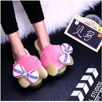 Cat head home cotton slippers female anti - skid
