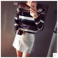 2016 new fall heavy! Hand-beaded sequined long-sleeved sweater female perspective