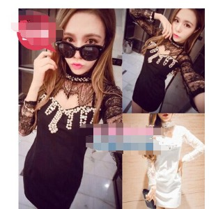 LYQ/2015 new nightclub sexy sexy fashion beaded lace stitching slim hollow temperament all-match...