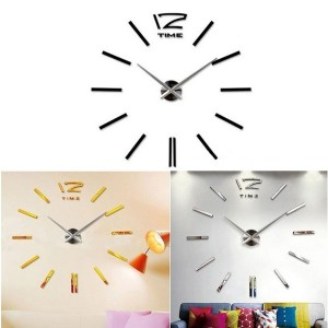SG Modern DIY Wall Clock Creative Scale Large Watch Decor Stickers Set Mirror Effect Acrylic Glass...