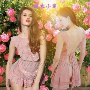 Curious young lady with paragraph cute backless transparent gauze sexy suspenders Lingerie...