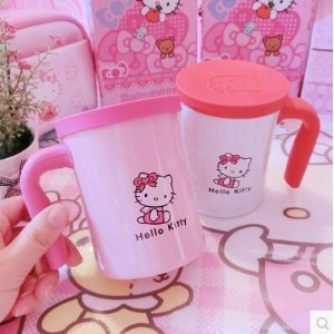 HelloKitty office stainless steel insulation Cup hand cup with lid leakproof handle cup Hello Kitty...