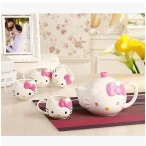 New Cute Hello Kitty hello kitty ceramic tableware gift Teapot kt tea cup tea tray set